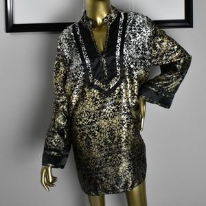 LANE BRYANT Gold Black Oriental Asian Blouse 22/24
